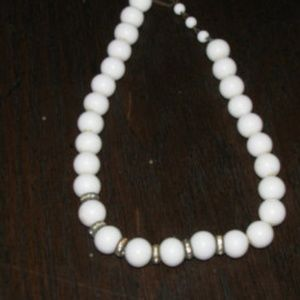 1940s white milk glass choker with spacers